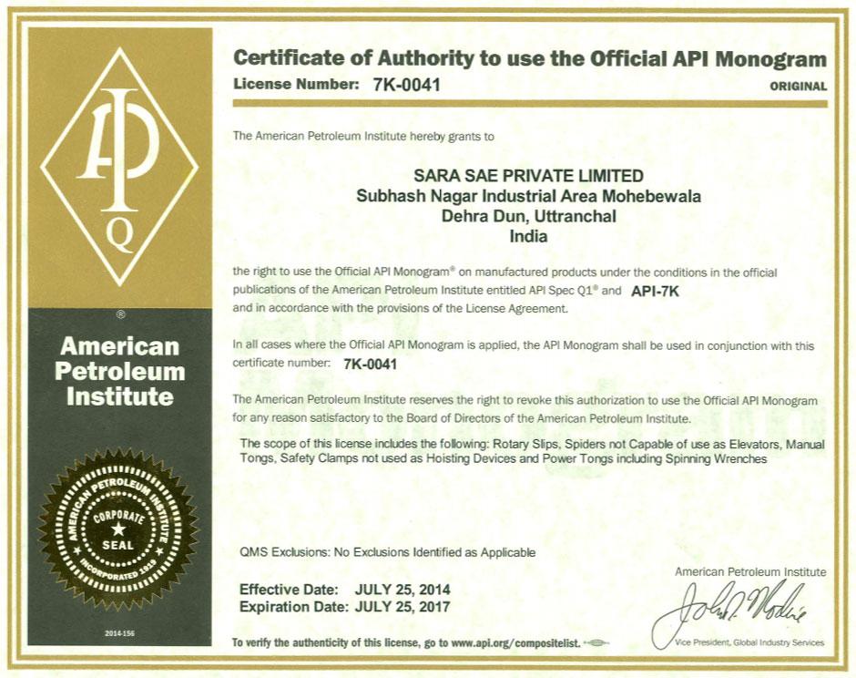api 6a certificate india drilling assurance oil